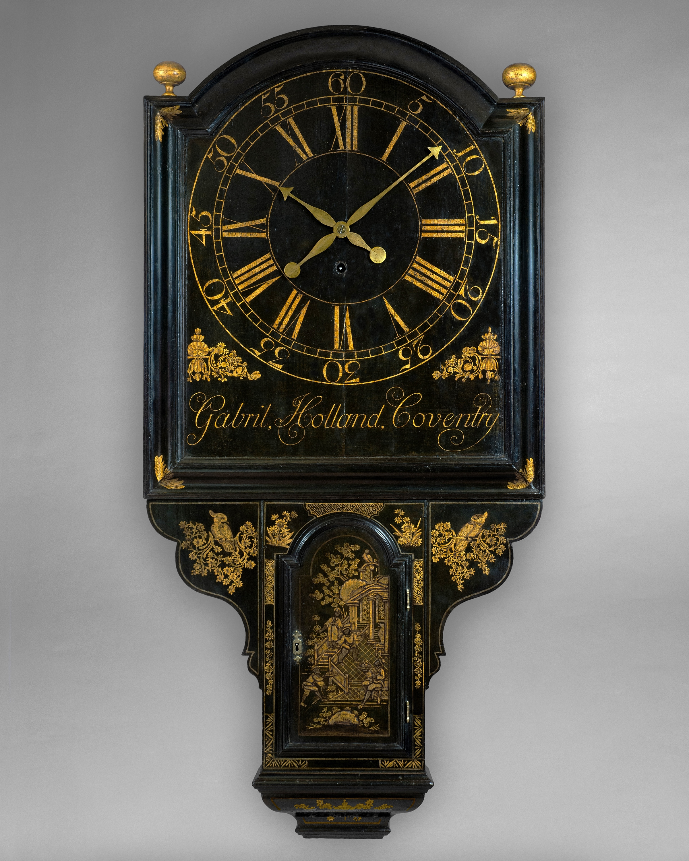 george II period shield dial lacquer tavern clock by Gabril Holland, Coventry. Circa 1730. Raffety Ltd
