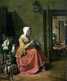 Painting of a later 17th century house interior with lantern clock. Artist unknown.