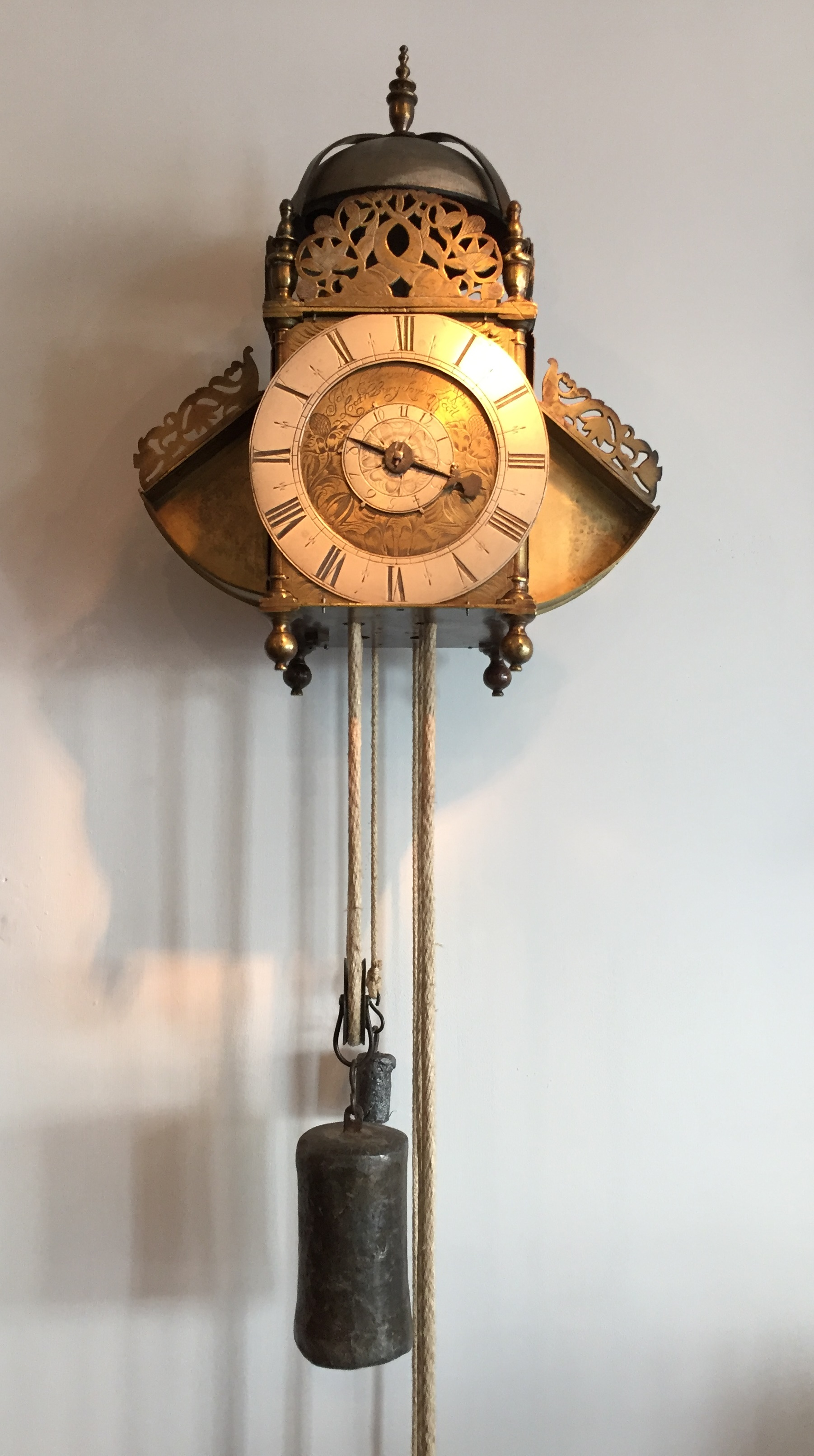 A verge, winged lantern clock signed by John Ebsworth 'Lothbury Londini', circa 1685. Raffety ltd