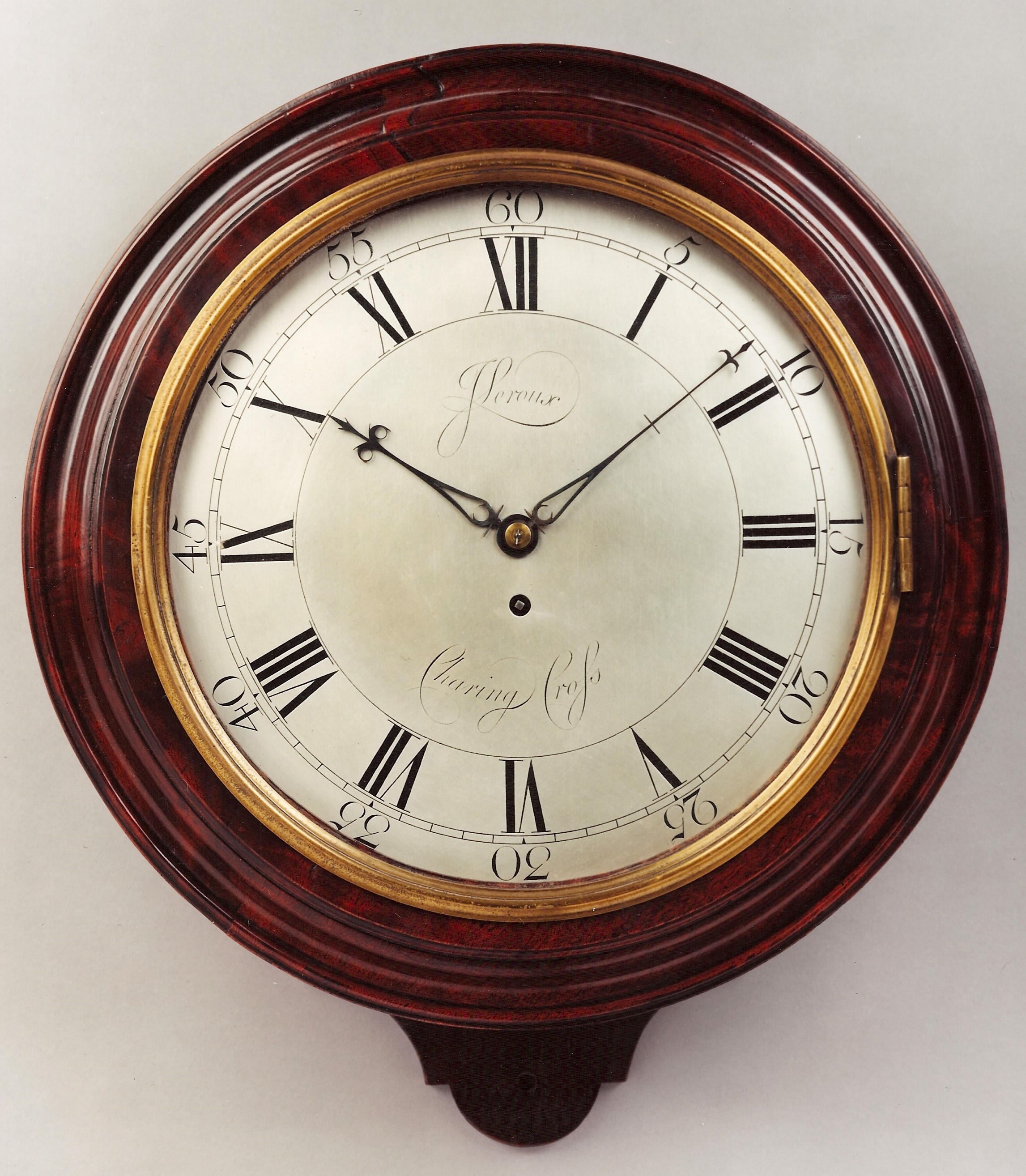 Georgian mahogany & silvered dial wall timepiece by J leroux, Charing Cross, London. Late 18th century. Raffety Ltd.